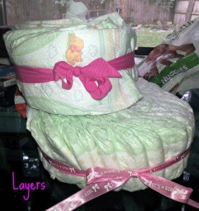DiaperCake2-e1444071674529-225x300 Super Simple Diaper Cake with Step By Step Instructions