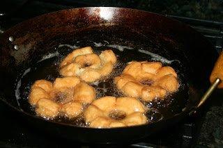 Frying Old Fashion Doughnuts