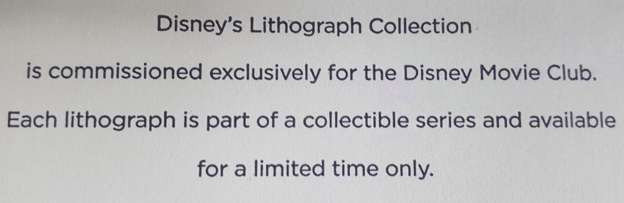 Disney Movie Club Free Lithograph