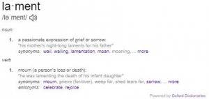 Lamenting: Definition