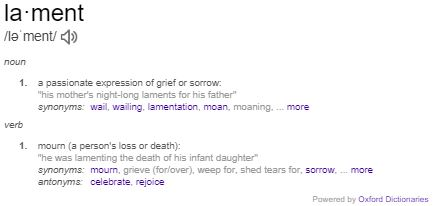 Lamenting: Definition