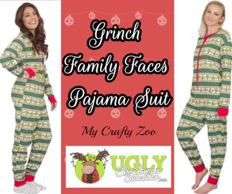 Grinch Pajama Suit: Christmas Jammies Giveaway @uglyxsweater @CraftyZoo